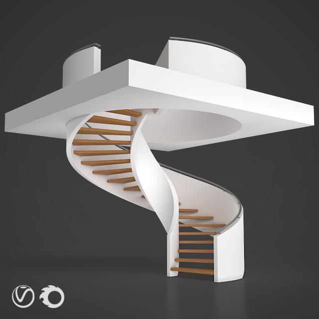 3d модель Винтовая лестница